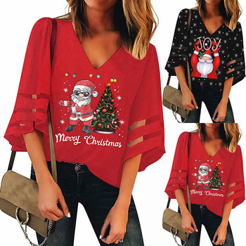 Christmas Trumpet Sleeves Loose Blouse