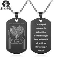 Jiayiqi-collier pendentif personnalisé en acier inoxydable, collier de texte personnalisé à graver sur Photo pour hommes et femmes, bijoux cadeaux personnalisés