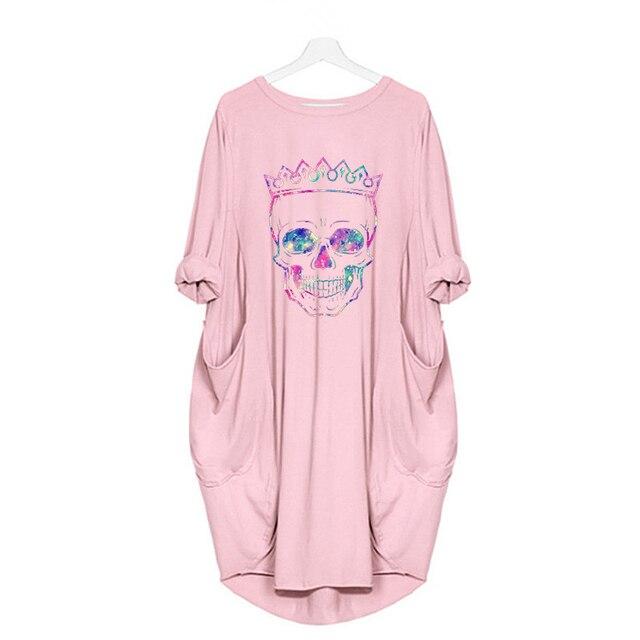 Women Loose Dresses Long Sleeve Dress Plus Size Harajuku Skull Print Casual Robes Femme Vintage o Neck Pocket Party Vestidos 5