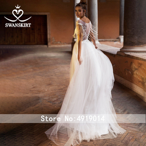 Image 2 - Beaded Appliques Lace Wedding Dress Swanskirt Beach Scoop A Line Tulle Illusion Bride gown Desinger Princess robe de mariee NY51