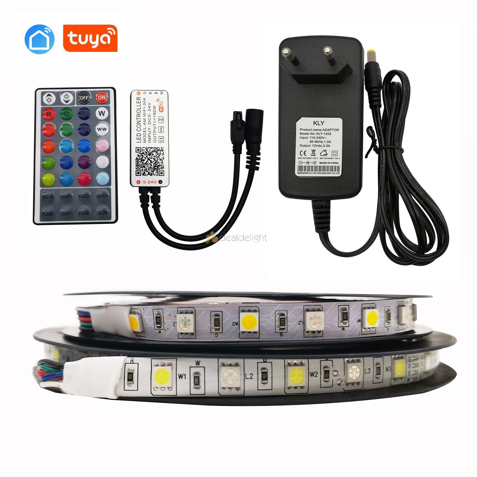 5M 10M 5050 RGBW LED Strip Flexible Tape Full Set  + Tuya Smart Wifi Controller Alexa Google Home Voice Control+ Power Adapter