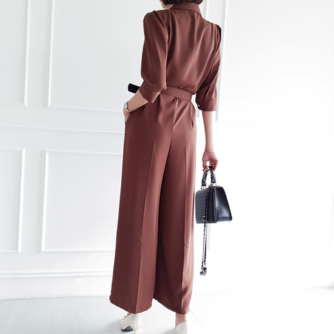 Office Lady Elegant Wide Leg Jumpsuits Women Autumn  Rompers Belted Waist  Playsuits Long Pants Overalls Lahore