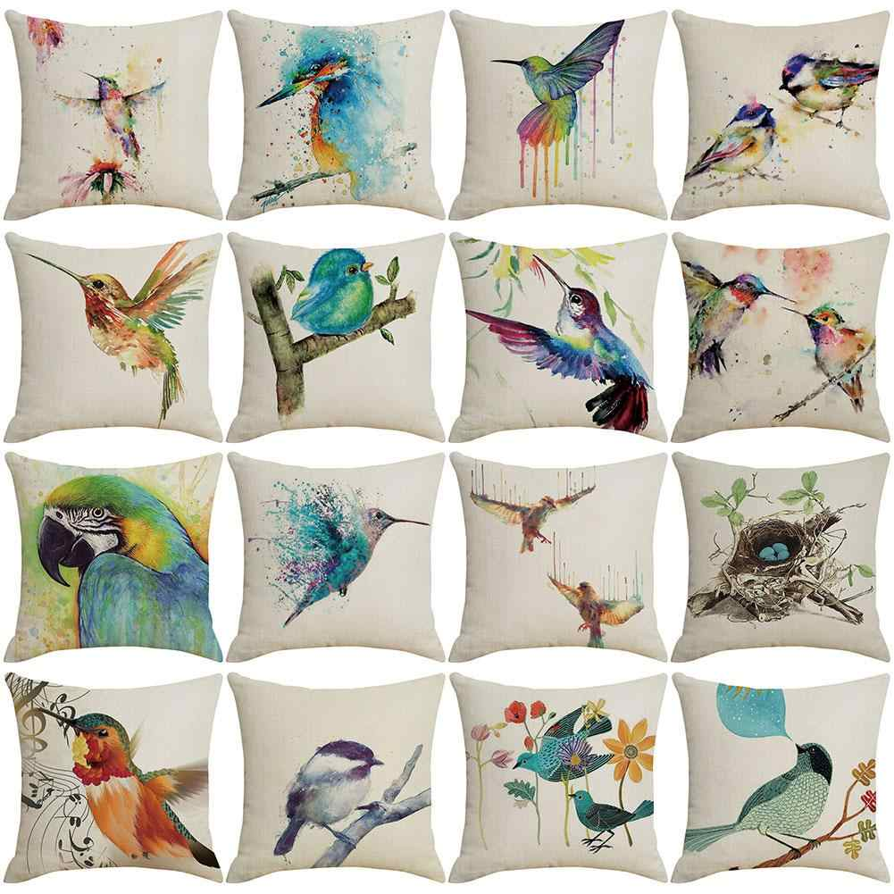 Hummingbird Flower Linen Throw Pillow Case Cushion Cover Sofa Bed Home Decor