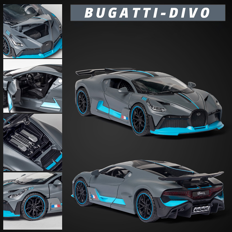 Brangdy 1:32 Bugatti divo supercar model alloy car hand-made sound and light pull back doll toy decoration figure birthday gift