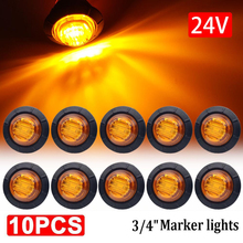 10pcs Waterproof 24V 3LED  Round Trailer Side Marker Lights Front Rear Trucks Tractors Clearance Lights Lamp Bullet Accesorios