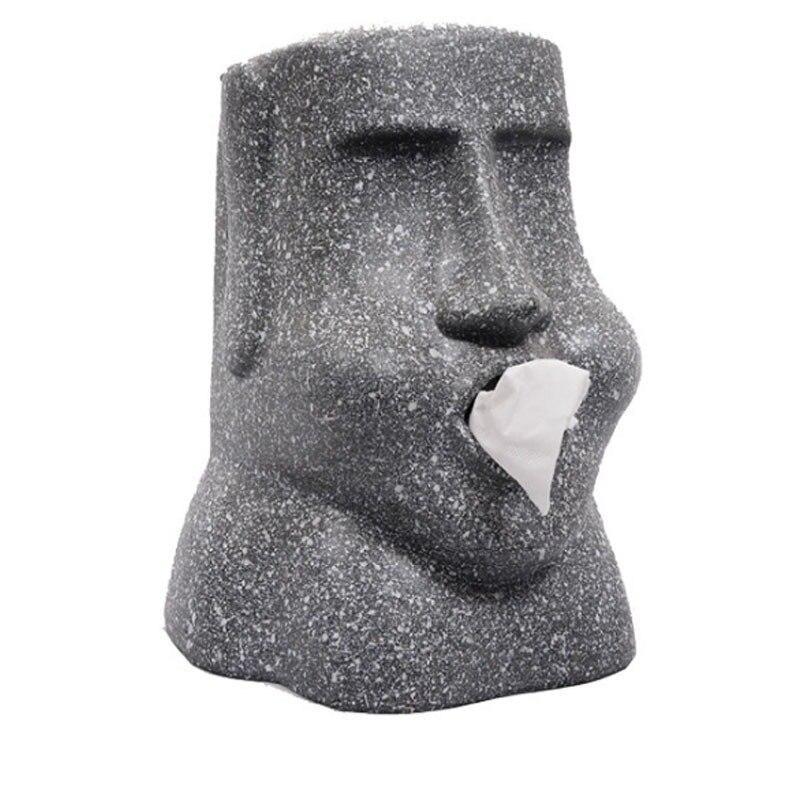 Moai Face Stone Statue Easter Island Portrait Stone Paper Towel Paper Towel Tube Napkin Storage Tissue Box Toilet Paper Stand
