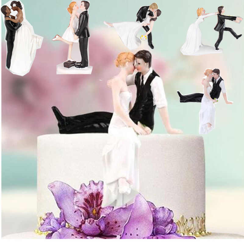 28 Style Wedding Doll Cake Toppers Dolls Bride And Groom Figurines Funny Wedding Cake Toppers Stand Topper Decoration Supplies