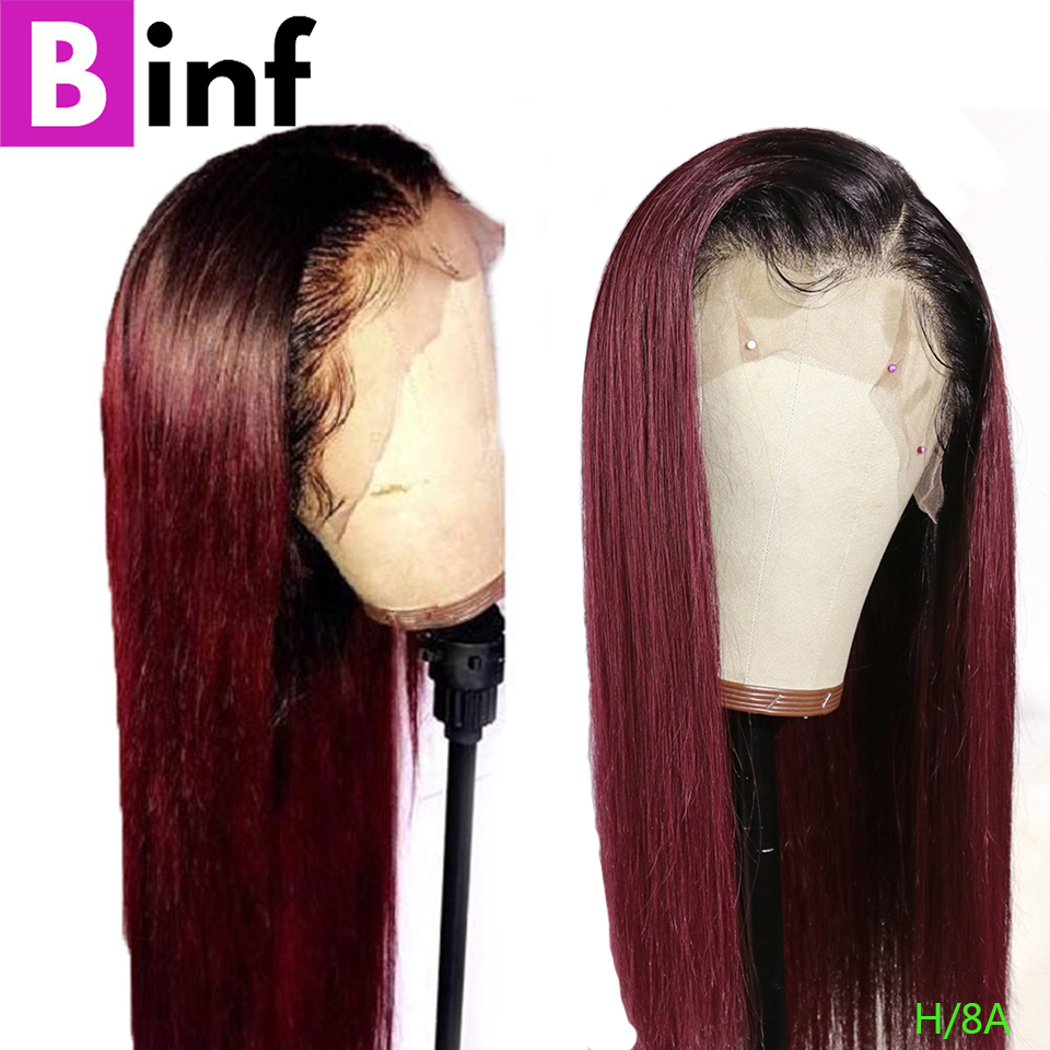 1B/99J Straight Human Hair Wigs 13x4 Lace Front Wig Human Hair Wigs Remy Hair 150% Pre-plucked With Baby Hair