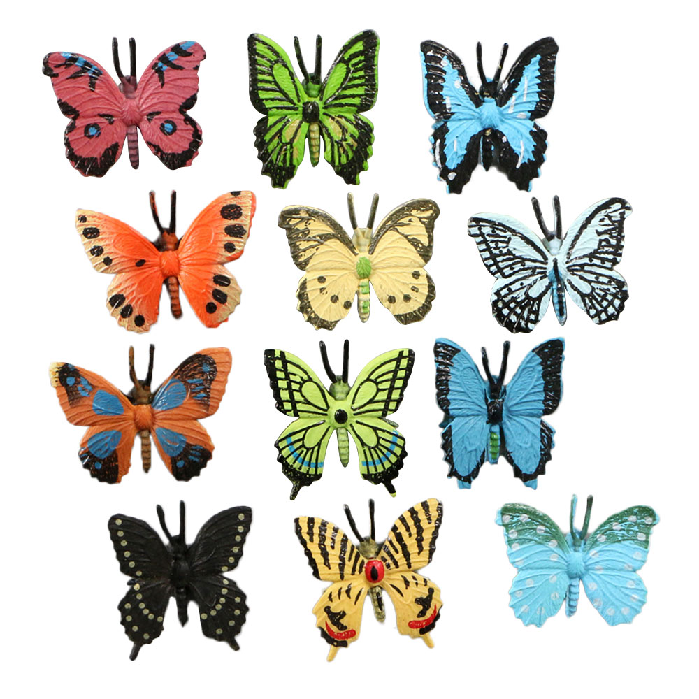 Mini 12pc Simulation Solid Insect Animal Model Plastic Butterfly Decoration Set Puzzle Early Learning Children's Toys Gifts