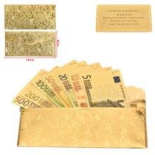 WR Kreative Mode Souvenir Geschenke 24k Gold 5 10 20 50 100 200 500 7 stücke EUR Banknote große werbe Geschenke mit umschlag