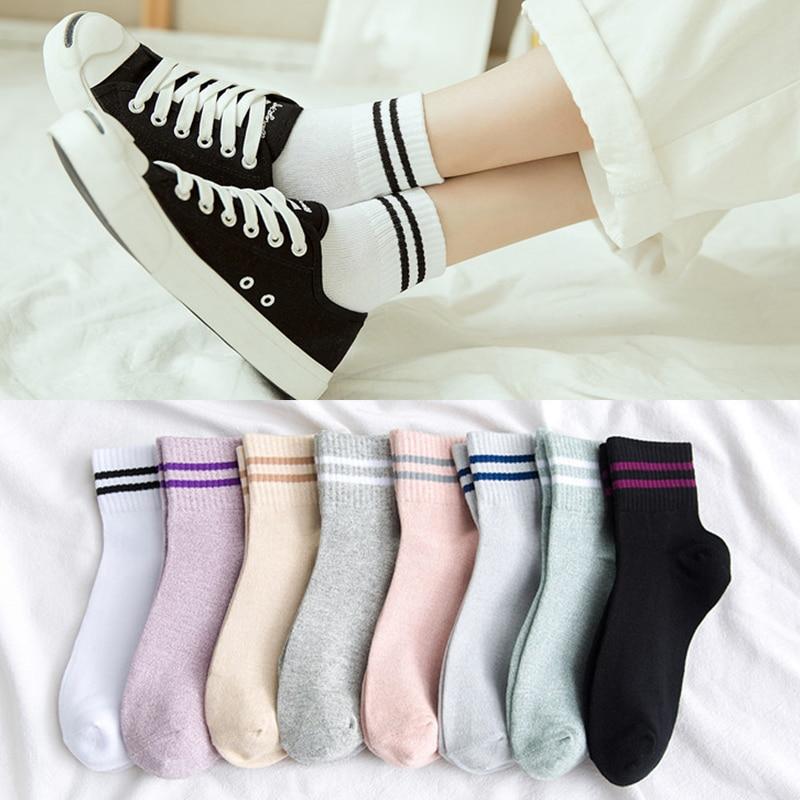 8 Colors Autumn And Winter New Japanese Two Bars Harajuku Japanese Line Striped Cotton Female Socks Cotton Socks