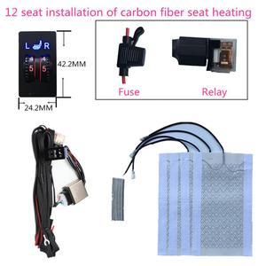 Image 1 - 2 sitze 4 Pads Universal Carbon Faser Auto Erhitzt Sitz Heizung 12V Pads 2 Zifferblatt 5 Ebene Schalter Winter wärmer Sitzbezüge heizung