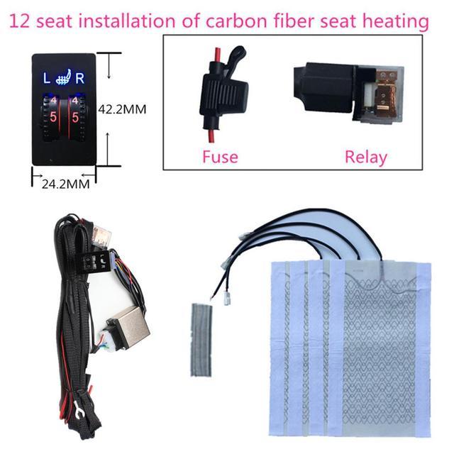 2 sitze 4 Pads Universal Carbon Faser Auto Erhitzt Sitz Heizung 12V Pads 2 Zifferblatt 5 Ebene Schalter Winter wärmer Sitzbezüge heizung