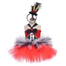 Red Nutcracker Soldier Christmas Dress Girl Punk Rock Layered Tutu Dress Ribbon Bow Knee Length Dress with Nutcracker Headband цены