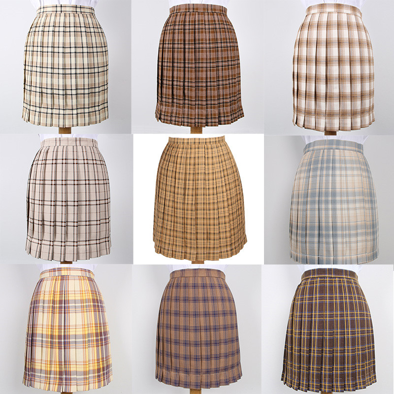 Japanese School Dresses Yellow Brown Plaid Pleated Skirt High Quality JK Uniform Skirt Students Cosplay Anime Sailor Suit Skirts