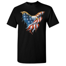 American Flag On Bald Eagle Wings Men'S T-Shirt 4Th Of July Usa Flag Tee For Youth Middle-Age The Old Tee Shirt(China)