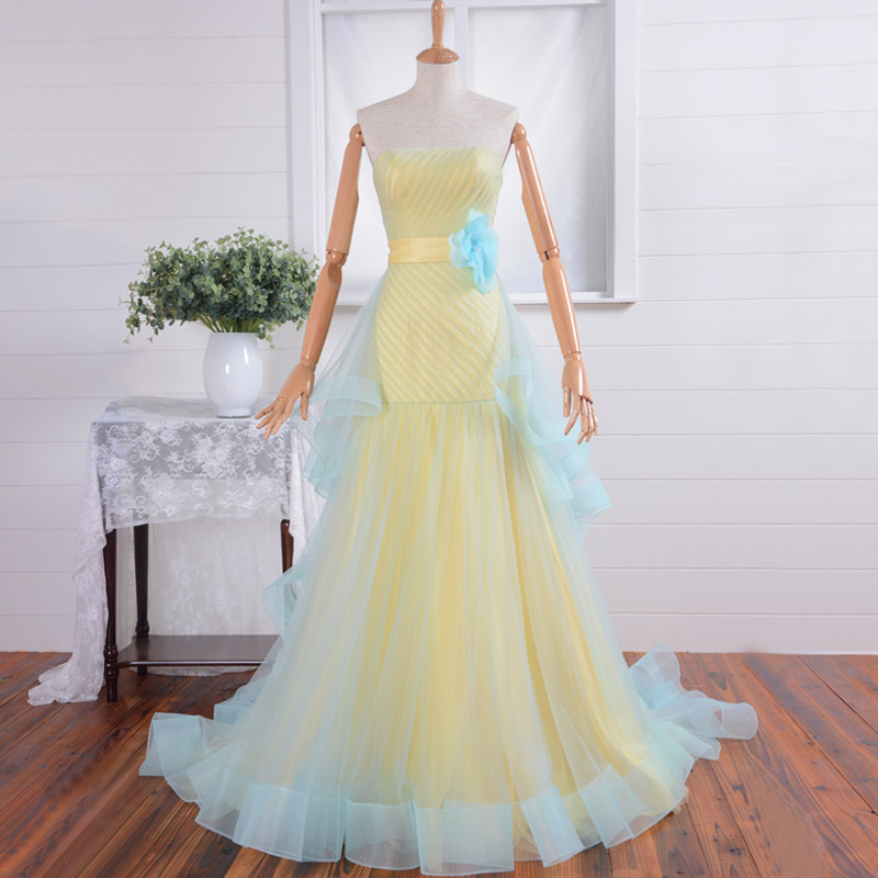 Yellow Strapless Sexy Mermaid Prom Flowers Sashes Vestido De Festa Real Photos Evening Gown 2018 Mother Of The Bride Dresses
