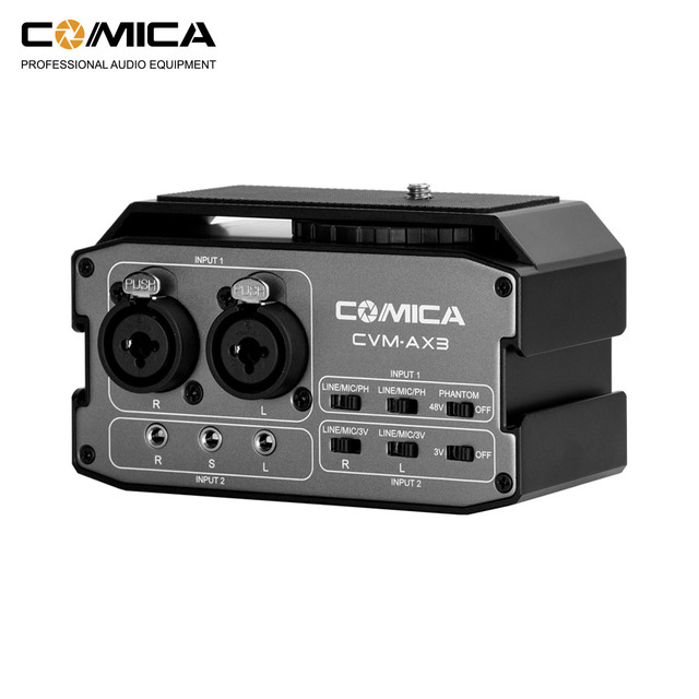 CoMica CVM AX3 XLR Audio Mixer Adapter Preamplifier Dual XLR/6.35mm/3.5mm Mics Audio Mixer for Canon Nikon Sony DSLR Camera