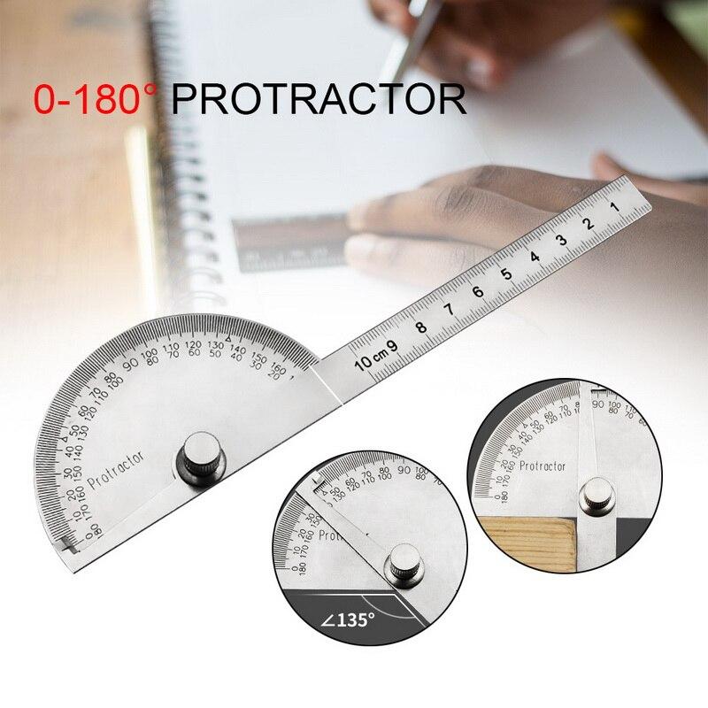 עגול ראש נירוסטה מד זוית 180 תואר זווית Finder רוטרי מדידת שליט מכונאי כלי 10cm אומן שליט