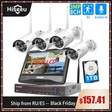 """Hiseeu 8CH 3MP Беспроводной Видеонаблюдения Набор камер наблюдения с 10,1 """"монитор для 1536P 1080 2MP открытая камера безопасности, Системы набор"""