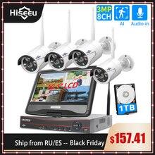 """Hiseeu Conjunto de cámara CCTV de vigilancia inalámbrica, 8CH, 3MP, con Monitor de 10,1 """"para 1536P, 1080P, cámara de seguridad exterior de 2MP"""