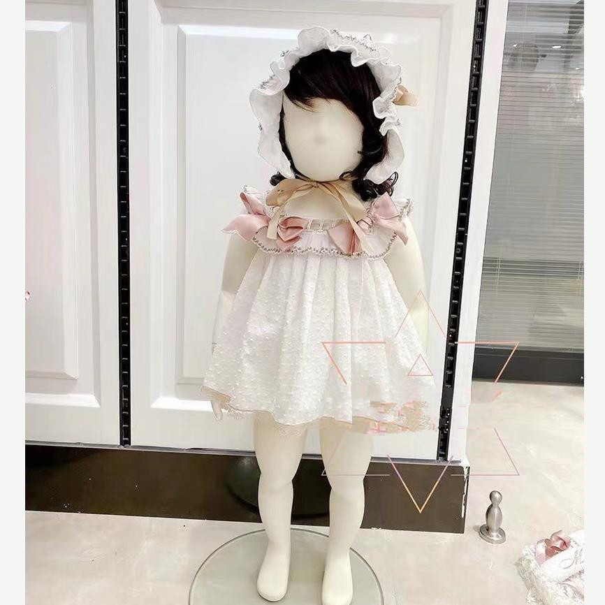 3PCS Spanish princess dress baby girl clothes Lace bow Sweet Cute Sleeveless dress for girls birthday party vestidos Y2962