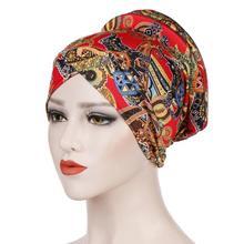2019 มุสลิมพิมพ์ turban หมวกอิสลาม Headwear ชาติพันธุ์ห่อหัว Bonnet Hijab หมวกอิสลามหมวกด้านใน Hijab turbante
