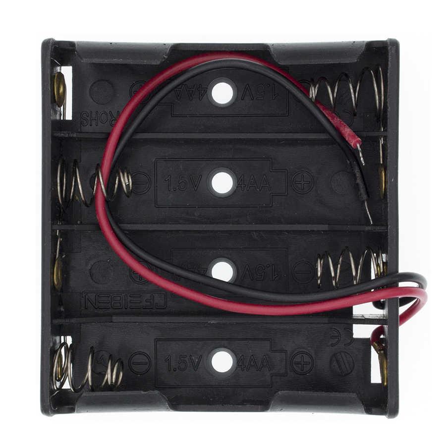 פלסטיק סטנדרטי גודל AA/18650 סוללה מחזיק תיבת מקרה שחור עם חוט להוביל 3.7V/1.5V קליפ