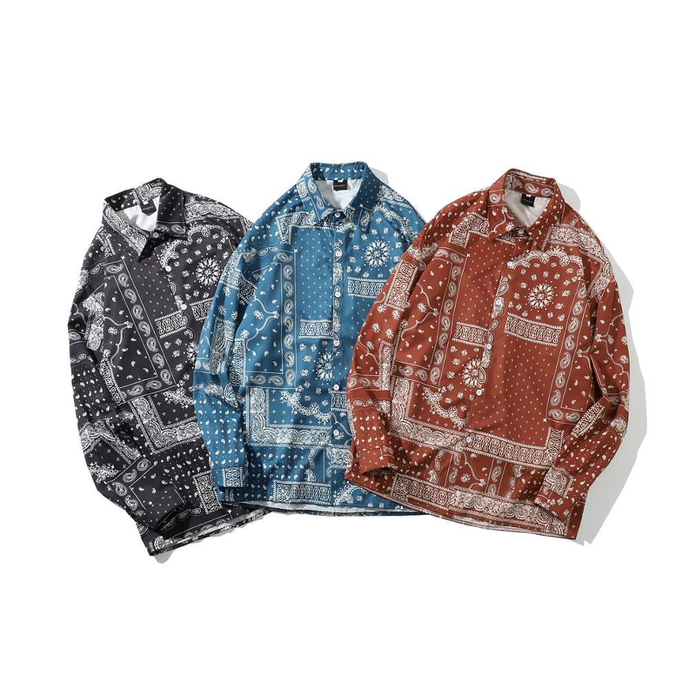 Men'S Fashion Tops Spring Autumn Clothes Shirt Long Sleeves Hawaiian Beach Casual Floral Shirt For Man Holiday Outwear M-xxl