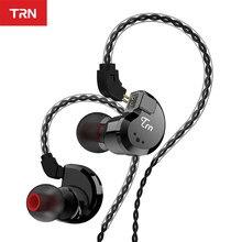 Trn v80 2dd + 2ba híbrido en la oreja auricular alta fidelidade dj monitor de corrida auriculares com 2 pinheiros desmontável