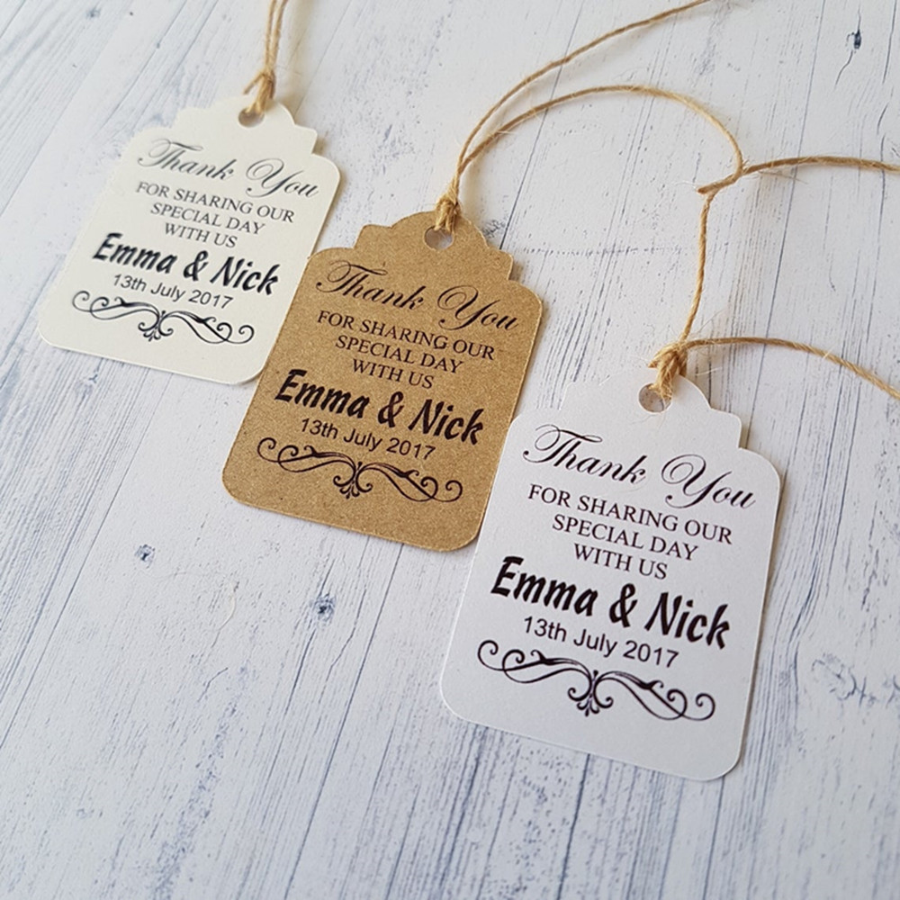 Personalized Wedding Tag Shower Gift Tags for Favors Engagement Thank You Tags Guest Bag Tags 30 Wedding Wedding Favor Thank You Tags