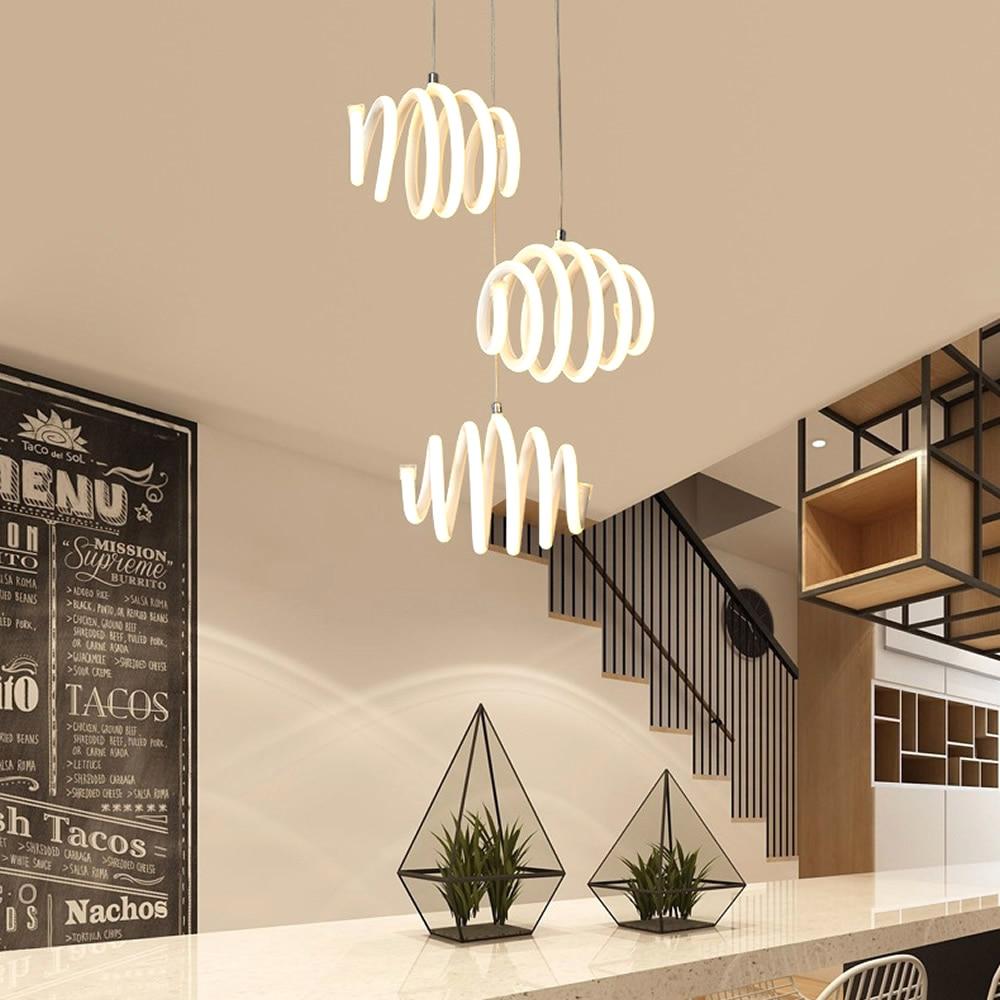 Apextech Elegant LED Pendant Light Minimalist Helical Hanging Lamp Droplights Dining Room Coffee Bar Restaurant