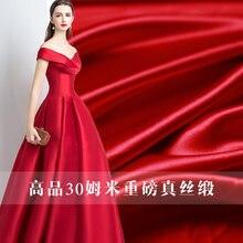 30momme красный цвет плотный атласный шелк 100% шелковые материалы