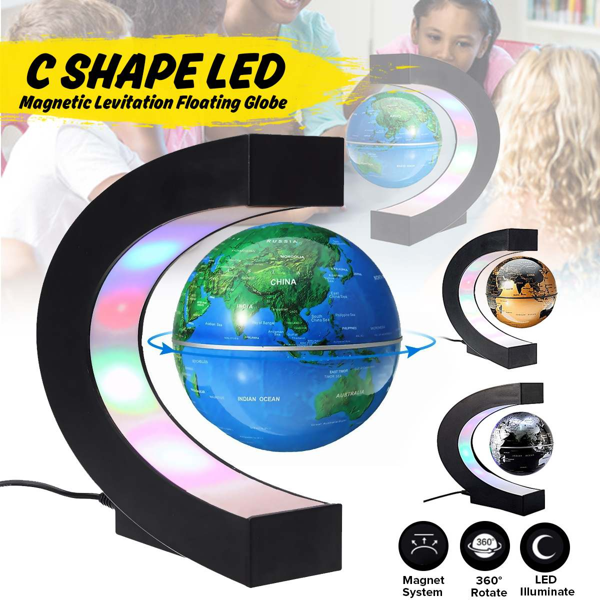Led Magnetic Levitation Globe Night Light Floating World Map Ball Lamp Cool Lighting Office Home Decor Terrestrial Globe Lamp