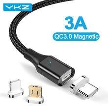 YKZ manyetik kablo için iPhone Samsung 3A hızlı şarj manyetik telefon USB kablosu mikro USB C tipi kablo mıknatıs şarj veri kablosu