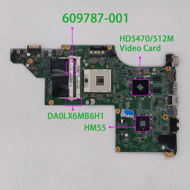 Para hp pavilion DV7 4000 series DV7T 4000 609787 001 cor verde hd5470/512m placa de vídeo da0lx6mb6h1 placa mãe mainboard testado
