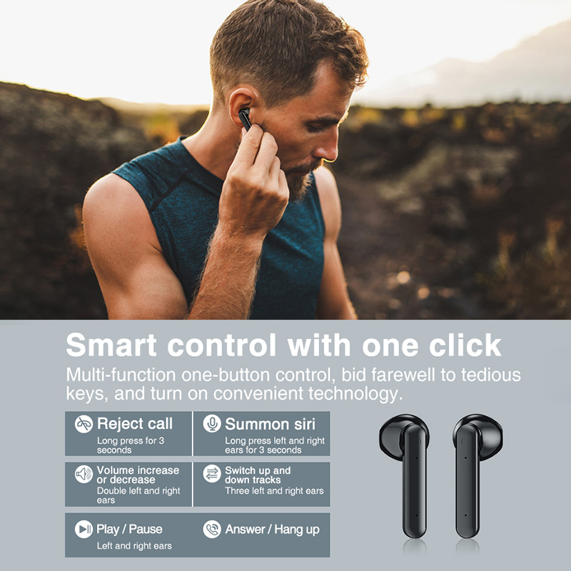 Bluetooth Headphones Sports Wireless Earbuds 8D Stereo Sound Sweatproof Headset With Mic Touch Control TWS 5.0 fone de ouvido