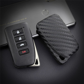 Silica Gel Carbon Fiber Car Key Case Cover For Lexus NX GS RX IS ES GX LX RC 200 250 350 LS 450H 300H Car Key Ring Chain image