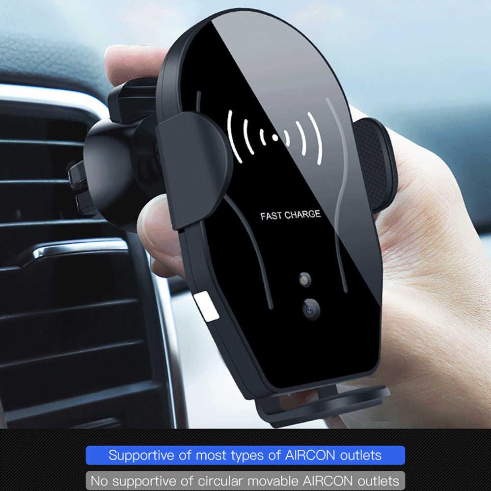 Cargador inalámbrico para coche Qi para iPhone Xs Max Xr X 8 Plus Huawei P30 pro carga inalámbrica infrarroja inteligente sostenedor del teléfono del coche