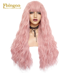 Image 3 - Ebingoo Long Deep Wave White Synthetic Wig with Neat Bangs for Women High Temperature Fiber for Cosplay
