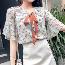 Ruffle Sleeve Blouse 2019 Summer Sweet Women's Blouse Floral Print Bow Decoration Loose Chiffon Shirt Fashion Commuter Style daisy print ruffle trim blouse