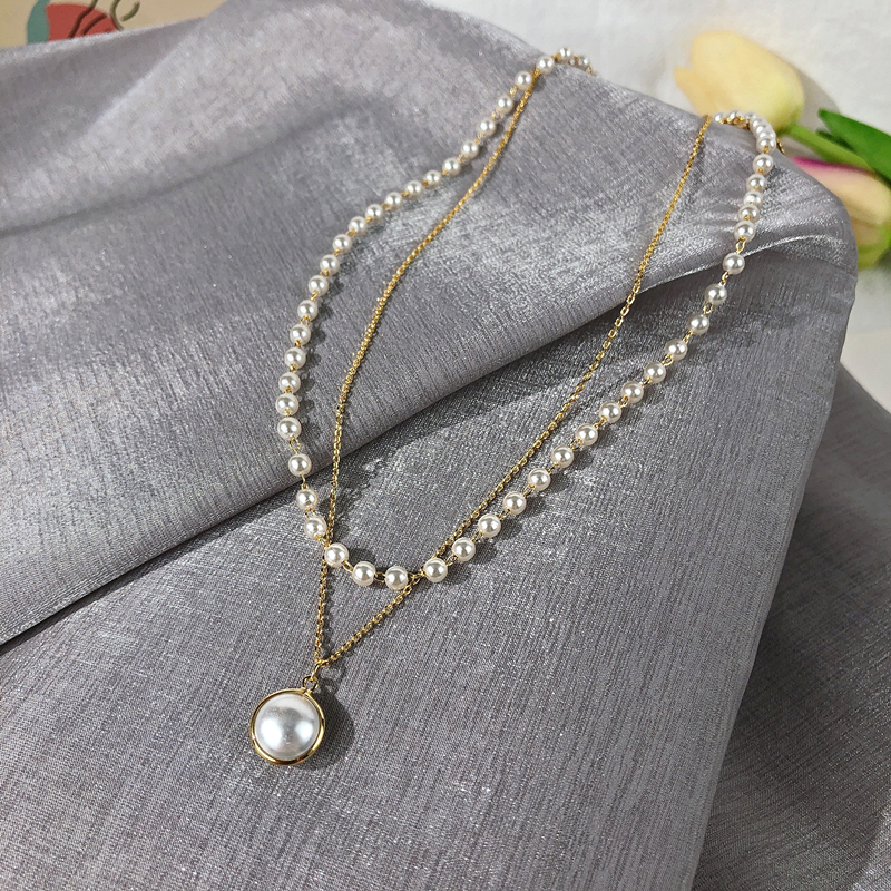 Kpop Fashion Pearl Choker Necklace Women Cute Girl Gold color Double Layer Chain Pearl Pendant Korean Jewelry Woman 2020 Collar