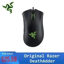 Oryginalny Razer DeathAdder Essential ergonomiczna profesjonalna mysz do gier 6400 DPI czujnik optyczny do komputera przenośnego