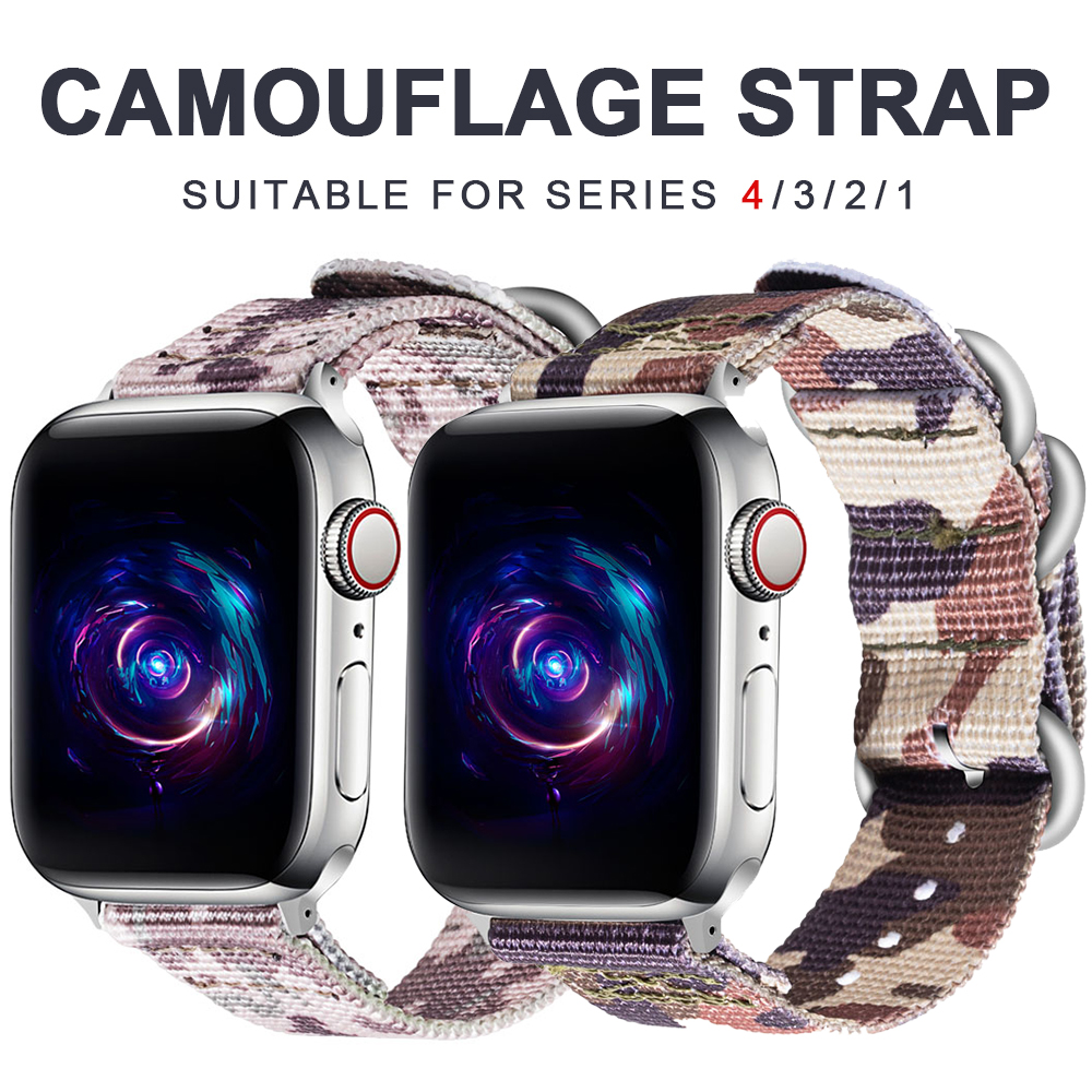 Woven Nylon Strap For Apple Watch Band 3 42 Mm 38 Mm Camouflage Iwatch 3/2/1 Nylon Wrist Strap Accessory