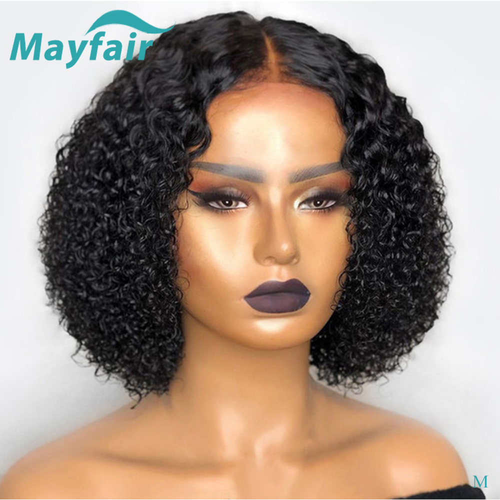 Curly Lace Front Human Hair Wigs With Baby Hair 150% Brazilian Remy Hair Short Bob Wigs For Women 13x4 PrePlucked Lace Front Wig