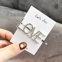 New Crystal Love Letter Hair Pins Tiara Sexy Girls Boys Clips Letter Bridal Hair Jewelry Wedding Hair Accessories Diadema Bobby