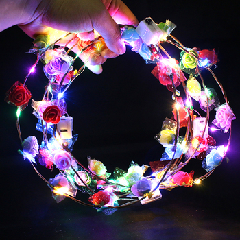 Christmas Neon Wreath Decoration Luminous Hair Garlands Hairband Glowing Garland Wedding Party Crown Flower Headband LED Light party glowing wreath halloween crown flower headband women girls led light up hair wreath hairband garlands gift