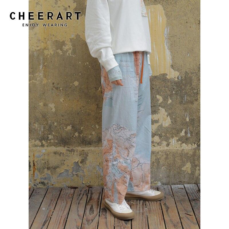 CHEERART coton Vintage pantalons longs femmes carte imprimer élastique taille haute pantalon printemps concepteur pantalon mode vêtements