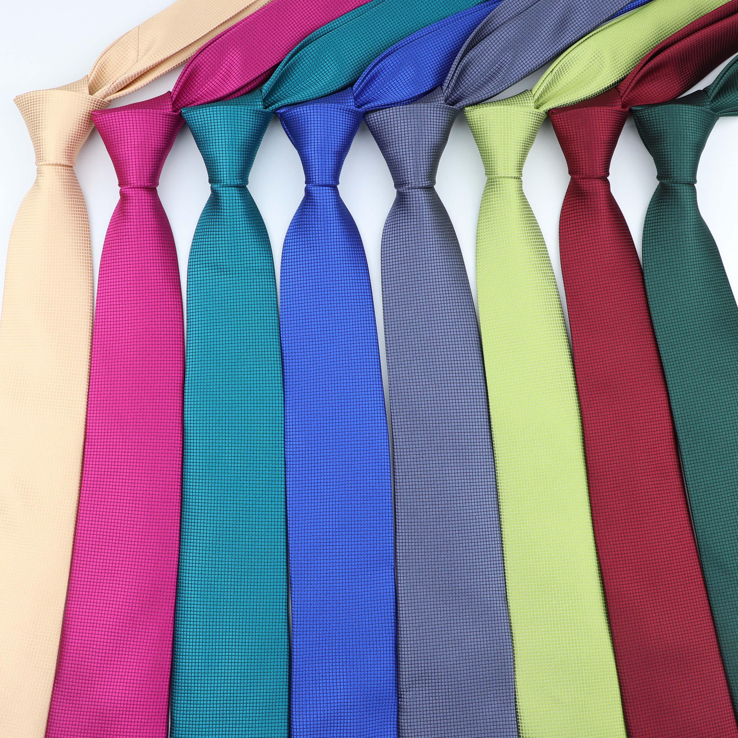 6cm Mens Business Tie Formal Plaid Jacquard Polyester Necktie Narrow Classic Corbata Neckwear Gravata Wedding