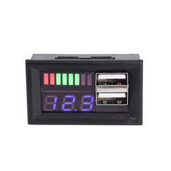 Blue LED Digital Display Voltmeter Mini Voltage Meter Volt Tester Panel For DC 12V Cars Motorcycles Vehicles USB 5V2A output